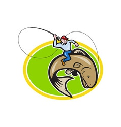 Fly Fisherman Riding Trout Fish Cartoon vector image vector image