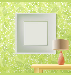 green leaf spring printed wallpaper with frame for vector image