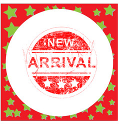 red grunge rubber stamp new arrival in circle vector image