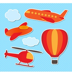 Set of cute colorful aircraft stickers vector image vector image