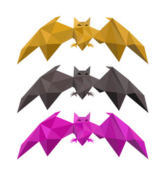 set of low poly bat flying vector image