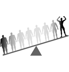 silhouette man celebrates dieting vector image vector image