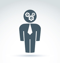 White collar team worker man icon with gears vector image