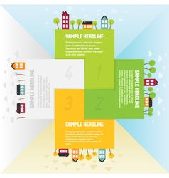 Banners with small town in different seasons vector image vector image