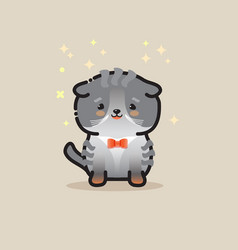 cute cat isolated on gray backgroun vector image
