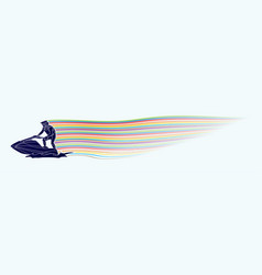 jet ski action sport man riding water scooter out vector image