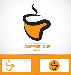 Orange coffee cup logo vector image vector image