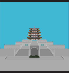 south korea country design flat cartoon elements vector image