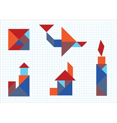 Tangram House aircraft candle lighthouse vector image