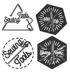 Vintage sewing emblems vector image