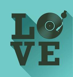 black vinyl record disc flat love concept vector image vector image