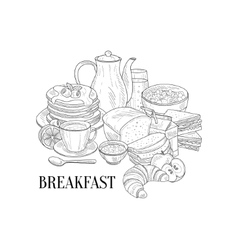 Breakfast Traditional Food And Drink Hand Drawn vector image