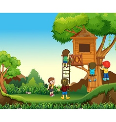 Children climbing up the treehouse vector image vector image
