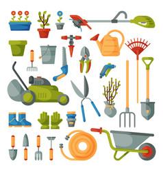 garden tool gardening equipment rake or vector image vector image