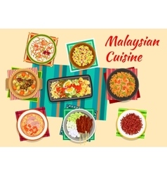 Malaysian cuisine traditional dinner icon vector image