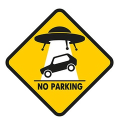 Road Sign UFO Abduction car vector image vector image