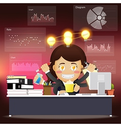 woman with many arms working with idea bulb vector image vector image