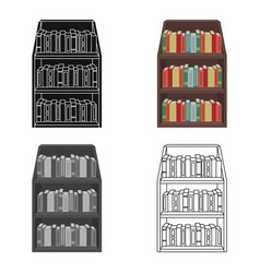 bookcase icon in cartoon style isolated on white vector image