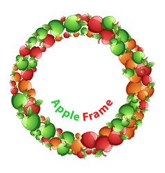 circle frame red yellow green apple cartoon vector image