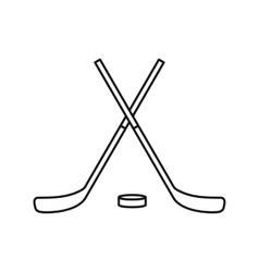 Crossed hockey sticks and puck icon outline style vector image