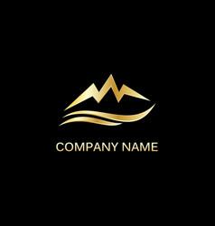 gold mountain abstract logo vector image