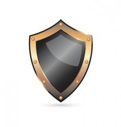 golden shield vector image vector image