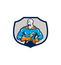 Plumber Superhero Monkey Wrench Crest Retro vector image vector image