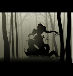 scary monster in dark woods vector image