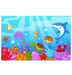Sea life cartoon with fish collection set vector image vector image