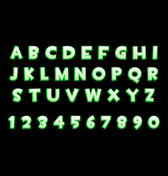3d green neon alphabet and numbers for ui games vector image