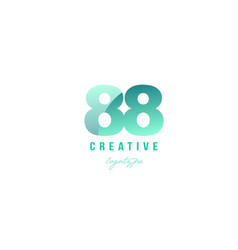 88 green pastel gradient number numeral digit vector