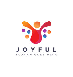 abstract liquid joyful person human logo icon vector image