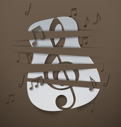 Abstract Music Background with Cut Paper Guitar vector image