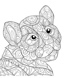 adult coloring bookpage a cute tiger image for vector image