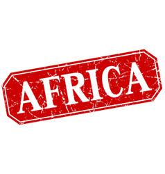 Africa red square grunge retro style sign vector
