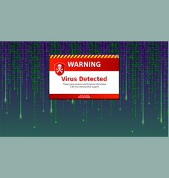 Alert message of virus detected scanning and vector