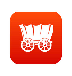 Ancient western covered wagon icon digital red vector