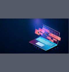 application of laptop with business graph vector image
