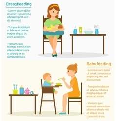 Baby feeding with place for text vector