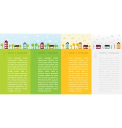 Banners with small town in different seasons vector