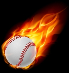 Baseball on fire vector