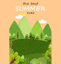 best summer ever landscape green forest and field vector image