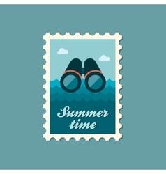 Binoculars flat stamp summertime vector