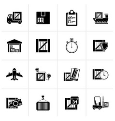 Black cargo shipping logistics and delivery icon vector