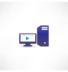 Blue computer with play vector image
