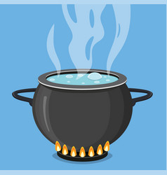 boiling water in black pan cooking concept vector image