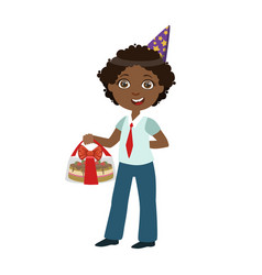 boy with cake in box part of kids at the birthday vector image