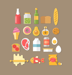 breakfast with fresh food and drinks vector image