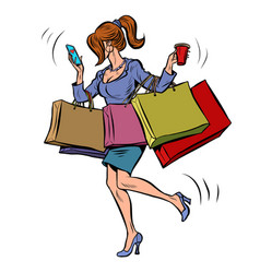 Business woman with shopping vector