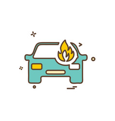 car fire icon design vector image